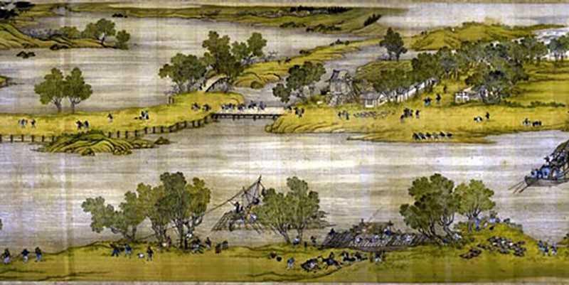 Картина: Сцена на берегу реки во время фестиваля Цинмин (清明上河图)